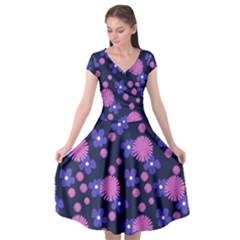 Pink And Blue Flowers Cap Sleeve Wrap Front Dress
