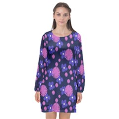 Pink And Blue Flowers Long Sleeve Chiffon Shift Dress  by bloomingvinedesign
