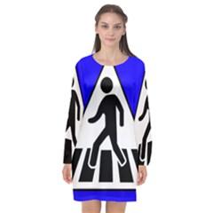 Cross Crossing Crosswalk Line Walk Long Sleeve Chiffon Shift Dress