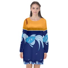 Fish Water Fisherman Long Sleeve Chiffon Shift Dress