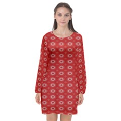 Red Kalider Long Sleeve Chiffon Shift Dress  by Sparkle