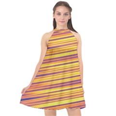 Orange Strips Halter Neckline Chiffon Dress