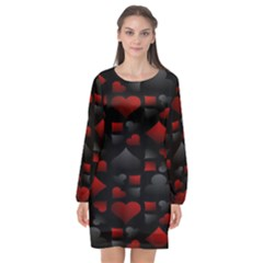 Digital Cards Long Sleeve Chiffon Shift Dress  by Sparkle