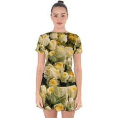 Yellow Roses Drop Hem Mini Chiffon Dress by Sparkle