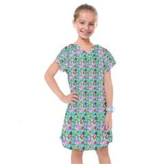 Blue Haired Girl Pattern Green Kids  Drop Waist Dress by snowwhitegirl