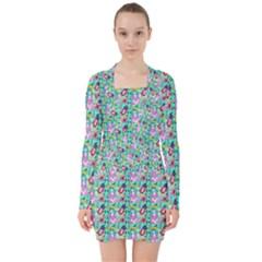 Blue Haired Girl Pattern Green V-neck Bodycon Long Sleeve Dress by snowwhitegirl