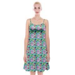 Blue Haired Girl Pattern Green Spaghetti Strap Velvet Dress by snowwhitegirl