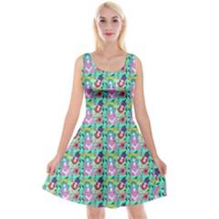 Blue Haired Girl Pattern Green Reversible Velvet Sleeveless Dress by snowwhitegirl