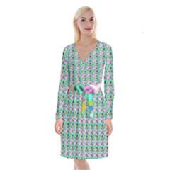 Blue Haired Girl Pattern Green Long Sleeve Velvet Front Wrap Dress by snowwhitegirl