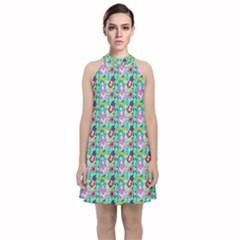 Blue Haired Girl Pattern Green Velvet Halter Neckline Dress  by snowwhitegirl