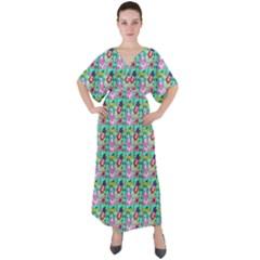 Blue Haired Girl Pattern Green V-neck Boho Style Maxi Dress by snowwhitegirl