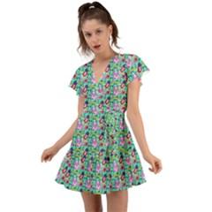 Blue Haired Girl Pattern Green Flutter Sleeve Wrap Dress by snowwhitegirl