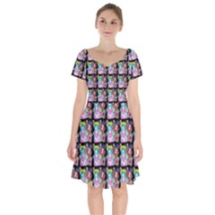 Blue Haired Girl Pattern Black Short Sleeve Bardot Dress
