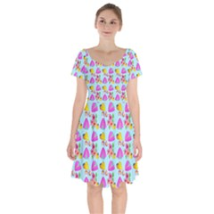 Girl With Hood Cape Heart Lemon Pattern Blue Short Sleeve Bardot Dress