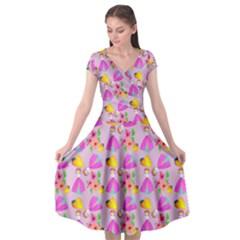 Girl With Hood Cape Heart Lemon Pattern Lilac Cap Sleeve Wrap Front Dress by snowwhitegirl