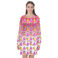 Girl With Hood Cape Heart Lemon Pattern Red Ombre Long Sleeve Chiffon Shift Dress