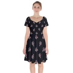 Ugly Monster Fish Motif Print Pattern Short Sleeve Bardot Dress