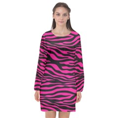 Pink Zebra Long Sleeve Chiffon Shift Dress