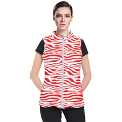 Red And White Zebra Women s Puffer Vest by Angelandspot