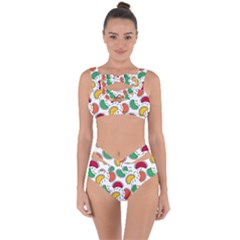 Geometric Fruity Bandaged Up Bikini Set  by tmsartbazaar