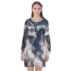 Illustrations Cupid Cloud Sky Angel Love Long Sleeve Chiffon Shift Dress