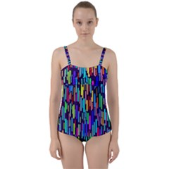 Abstract Line Twist Front Tankini Set