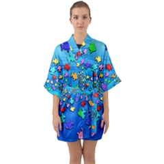Fractal Art School Of Fishes Half Sleeve Satin Kimono