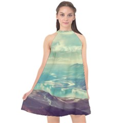 Landscape Mountains Lake River Halter Neckline Chiffon Dress