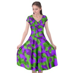 Purple And Green Camouflage Cap Sleeve Wrap Front Dress by SpinnyChairDesigns