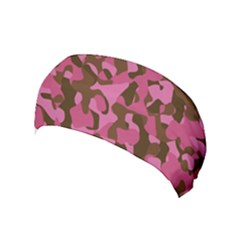Pink And Brown Camouflage Yoga Headband by SpinnyChairDesigns