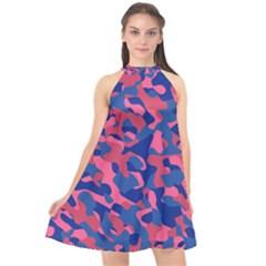 Blue And Pink Camouflage Pattern Halter Neckline Chiffon Dress  by SpinnyChairDesigns