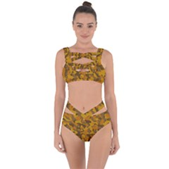 Brown And Orange Camouflage Bandaged Up Bikini Set  by SpinnyChairDesigns