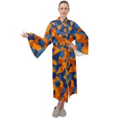 Blue And Orange Camouflage Pattern Maxi Velour Kimono by SpinnyChairDesigns