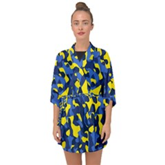 Blue And Yellow Camouflage Pattern Half Sleeve Chiffon Kimono by SpinnyChairDesigns