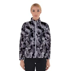 Grey And Black Camouflage Pattern Winter Jacket by SpinnyChairDesigns