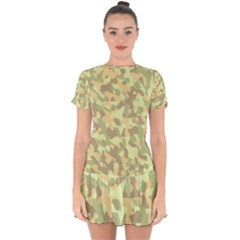 Light Green Brown Yellow Camouflage Pattern Drop Hem Mini Chiffon Dress by SpinnyChairDesigns