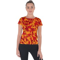 Red And Orange Camouflage Pattern Short Sleeve Sports Top  by SpinnyChairDesigns