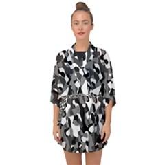 Black And White Camouflage Pattern Half Sleeve Chiffon Kimono by SpinnyChairDesigns