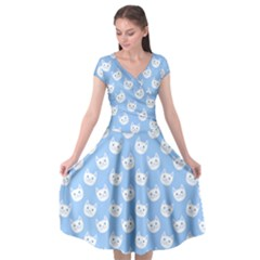 Cute Cat Faces White And Blue  Cap Sleeve Wrap Front Dress