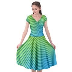 Blue Green Abstract Stripe Pattern  Cap Sleeve Wrap Front Dress