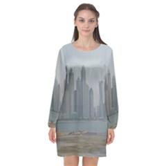 P1020022 Long Sleeve Chiffon Shift Dress  by 45678