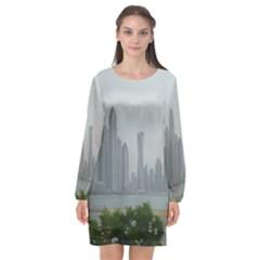 P1020023 Long Sleeve Chiffon Shift Dress