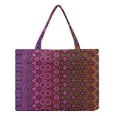 Abstract Retro Floral Stripes Pattern Medium Tote Bag