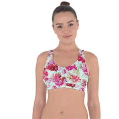 Cosmos Flowers Red Cross String Back Sports Bra by Cveti