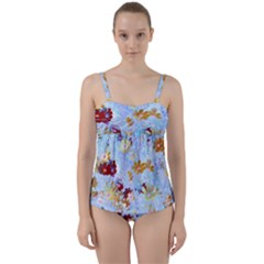 Cosmos Flowers Ligh Blue Twist Front Tankini Set by Cveti