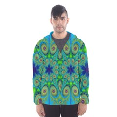 Peacock Mandala Kaleidoscope Arabesque Pattern Men s Hooded Windbreaker by SpinnyChairDesigns