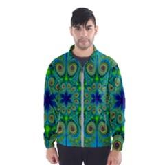 Peacock Mandala Kaleidoscope Arabesque Pattern Men s Windbreaker by SpinnyChairDesigns