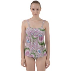 Pastel Pink Abstract Floral Print Pattern Twist Front Tankini Set by SpinnyChairDesigns