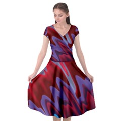 Red Blue Zig Zag Waves Pattern Cap Sleeve Wrap Front Dress