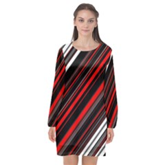Red Black White Stripes Pattern Long Sleeve Chiffon Shift Dress  by SpinnyChairDesigns